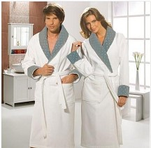 Embroidered  Terry Velour Bathrobe with Diamond Details in Pure White and Gracious Grey